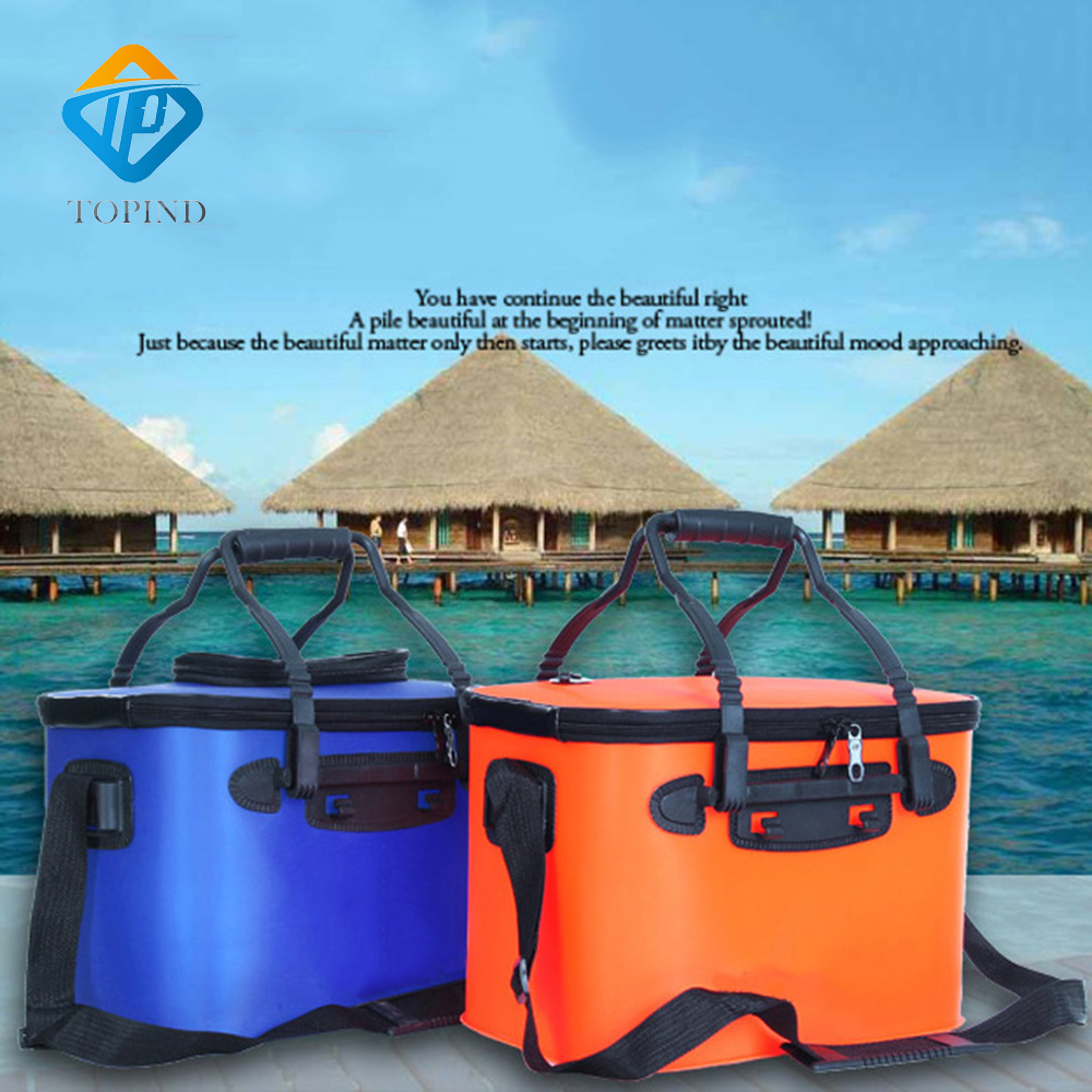 2PCS TOPIND 3 Color Large Folding Live Fish EVA Carp Bar Bucket Water Tank With Handle Bags Fishing Box