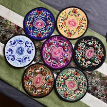 10 unids/set redondo bordado de tela comedor posavasos individuales de mesa Vintage diseño Floral accesorios de cocina bebidas alfombrillas de copa