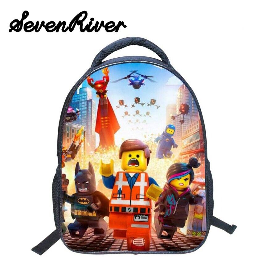 13 Inch High Quality font b Lego b font Batman Cartoon Backpack Colorful Kids Schoolbags Cool