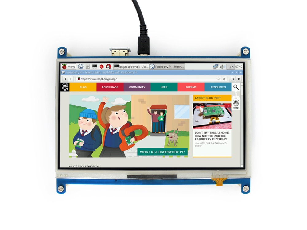 Waveshare 7inch HDMI LCD 1024 * 600 high resolution Resistive Touch Screen LCD HDMI Interface Display for Raspberry Pi Raspbian 7inch capacitive touch lcd display 1024 600 resolution tft screen demo board module rgb and lvds interface ft5206ge1 controller