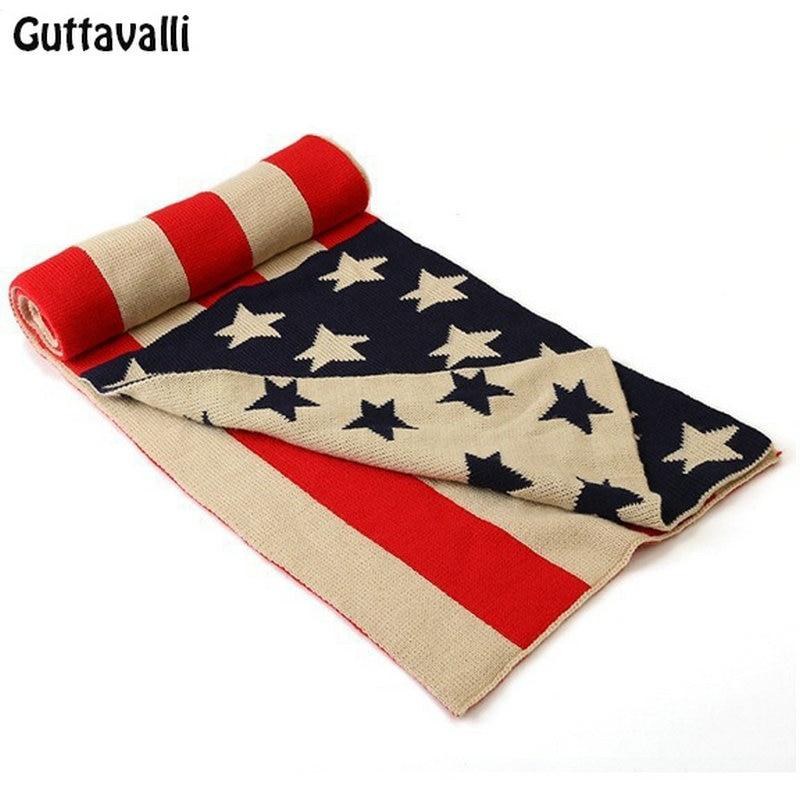 Guttavalli Men Fashion Women Stars Cotton Long Shawl Winter Thickness Knitted US Flag   Scarves   Charm Chevron Stripes   Scarf     Wrap