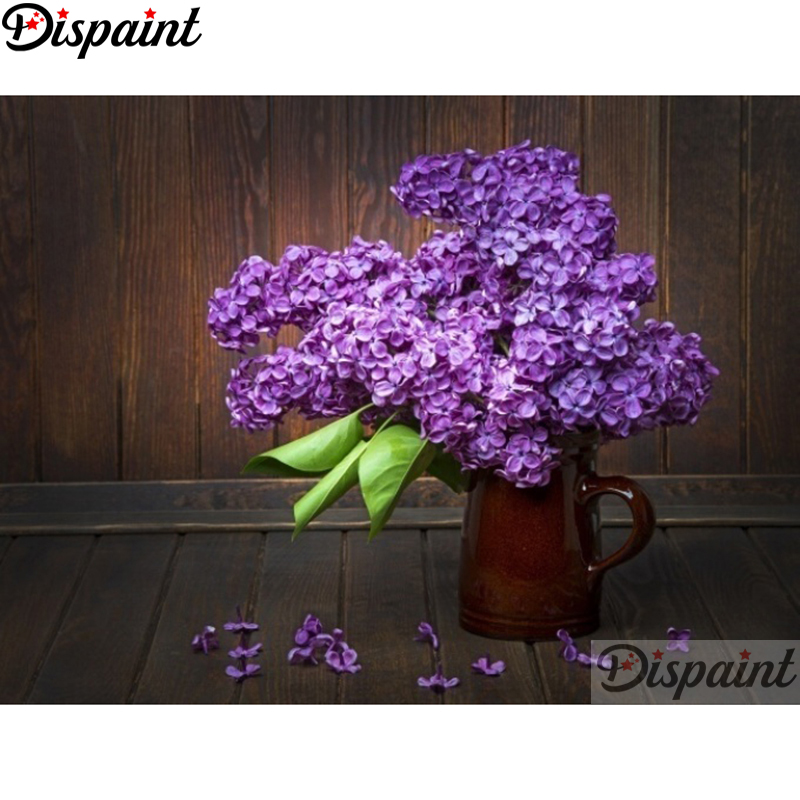 """Dispaint Full Square/Round Drill 5D DIY Diamond Painting """"purple flower"""" Embroidery Cross Stitch 3D Home Decor A11996"""