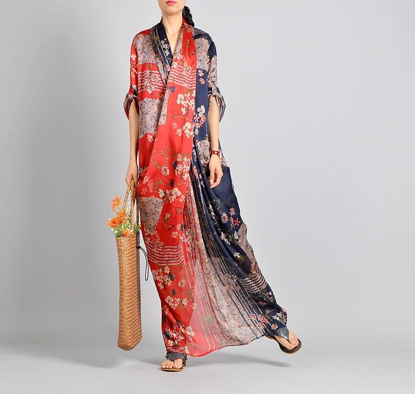 Kobiety wiosna lato Casual Patchwork drukowane Tencil sukienka Retro sukienka kobiet w stylu Vintage drukuj lato druku syrenka krzyż sukienka 2019 w Suknie od Odzież damska na  Grupa 3