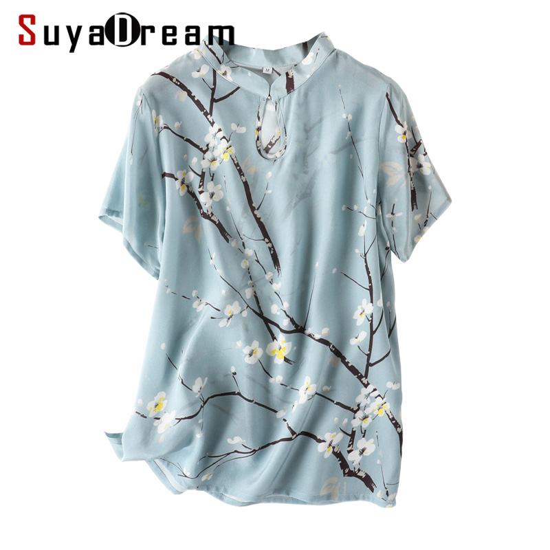 Women Floral Print   Blouse   100% REAL SILK Crepe Short Sleeved   Blouse     Shirt   Chinese Style 2019 Summer   Shirt   Pink
