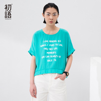 Toyouth 2016 New Arrival Women Summer T Shirt Casual Letter Printed Loose Shirt Female Turnover Top