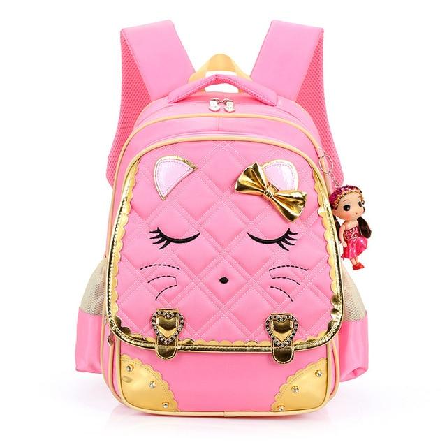 2017 Cute Girls Backpacks Kids cat smile Satchel Children School ...