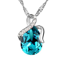 High quality Crystal Water drop Necklace Made With Swarovski Elements Women Jewelry Factory Direct Sale(China)