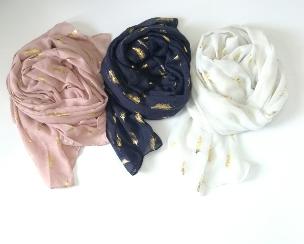 2017 New Fashion Gold Feather Pattern Foil   Scarf   Women Feather Foil Long   Scarves     Wrap   Shawl Hjiab 3 Color Free Shipping