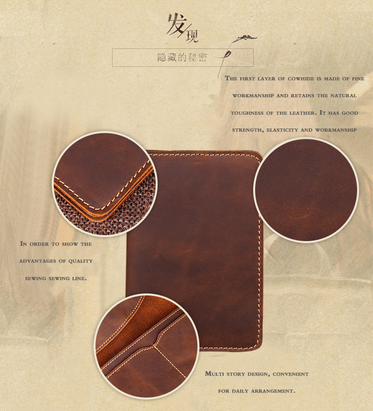 New 2019 Genuine Leather  Passport wallet Vintage Cow Leather Passport cover Unisex Wallet Credit Card Holder Travel Wallet