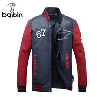 New 2017 Autumn Winter Bomber Jacket Men Casual Warm Embroider Jacket Mens Faux Leather Jackets Coats