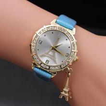 Zegarki kobiety luksusowe kwarcowy zegarek wieża eiffla wisiorek Rhinestone zegarek na rękę panie projektant zegarki часы женские 2019 tanie tanio QUARTZ Ze stali nierdzewnej Klamra Nie wodoodporne Odporny na wstrząsy Brak Lovers Watch Men Women Watch Skóra Nie pakiet