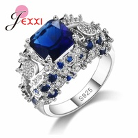 JEXXI Top Quality Women 925 Sterling Silver Blue Austrian Crystal Wedding Engagement Rings Jewelry Fashion Anillos