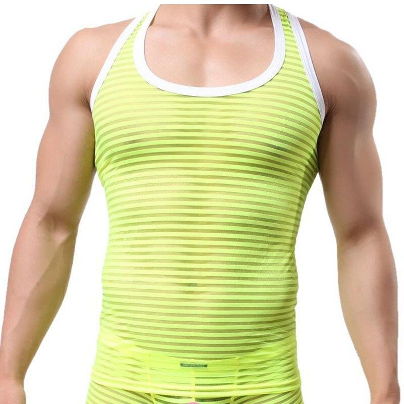Alvivi Mens See Through Sheer Mesh Muscle Half Tank Top Vest Sleeveless Undershirts Crop Tops