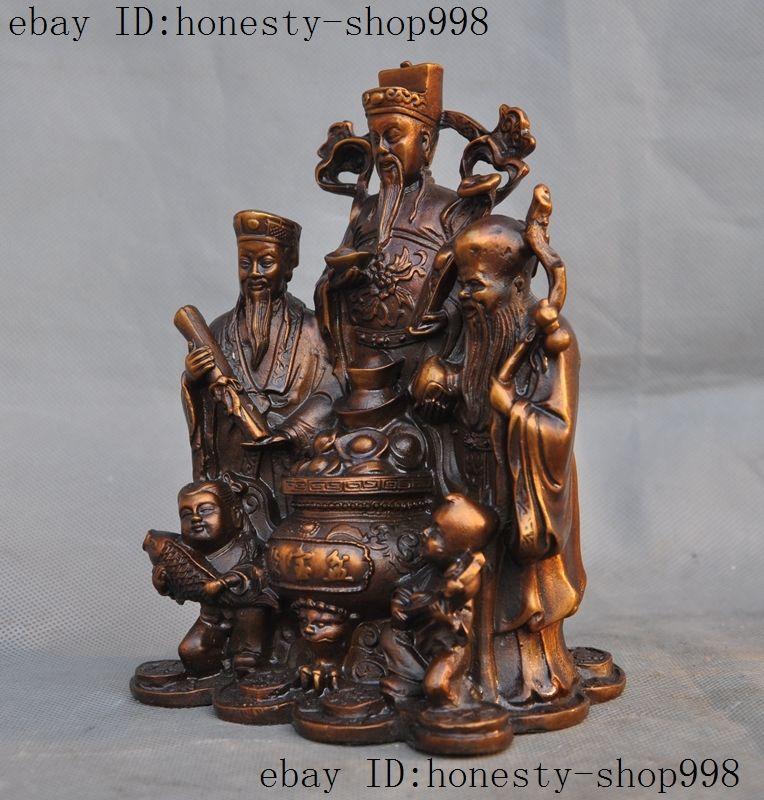 Temple de la chine en laiton richesse Yuanbao argent crapaud d'or heureux Statue de bouddha Maitreya - 5