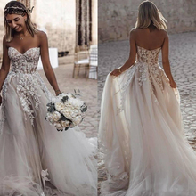 Sweetheart Summer Beach Wedding Gowns A Line Dresses Sexy Backless Appliqued Boho Bride Dress Vestidos