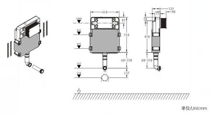 Смывной бачок спрятан в стены туалетный поток бак для пан 8801.01.2
