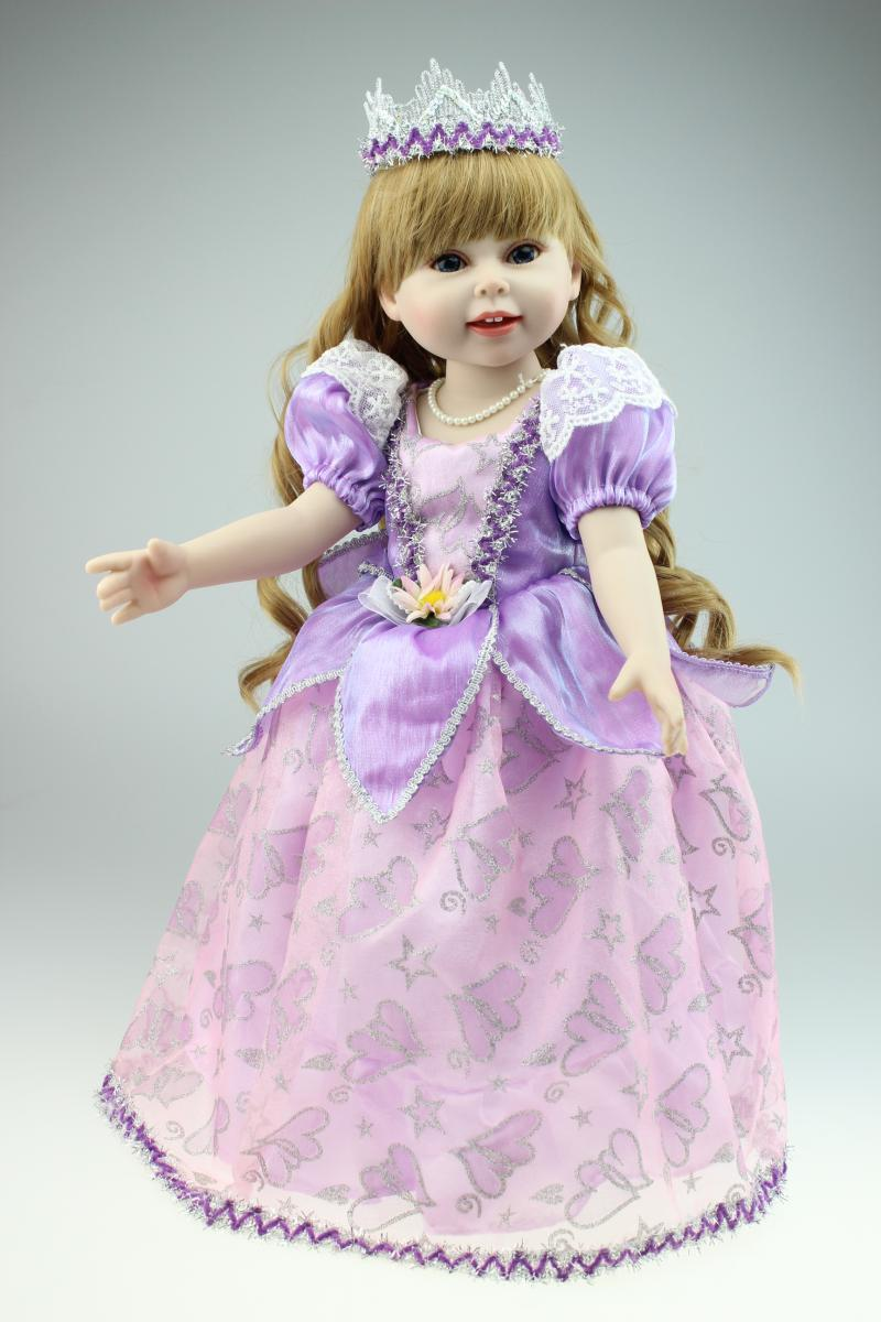 45cm New Vinyl Handmade Child Doll Toys Lifelike American Woman Dolls Purple Princess Child Dwelling Doll Birthday Present