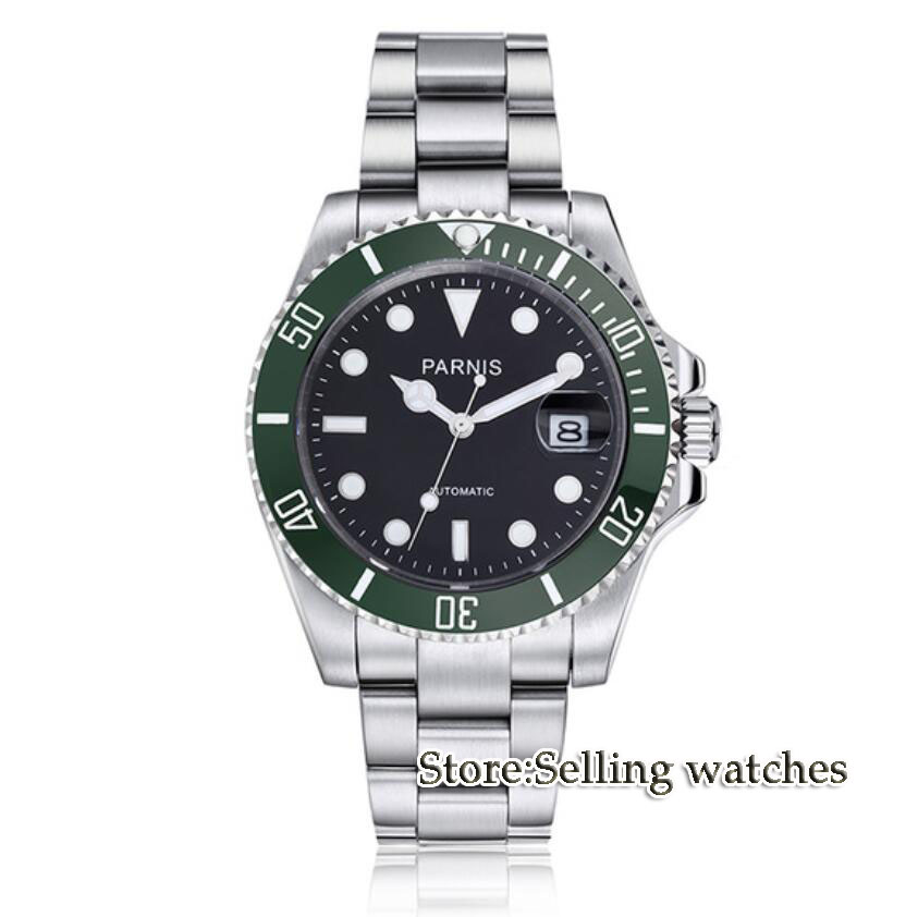 Parnis 40mm Mens Automatic Watch Mechanical Watches Green ceramic bezel Sapphire Glass Miyota Automatic Movement Men's Watch цена и фото