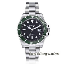 Parnis 40mm Mens Automatic Watch  Mechanical Watches Green ceramic bezel Sapphire Glass Miyota Movement