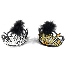 2018 NEW design New year tiara hat hair accessories glitter happy new featured black silver gold color event party supplies