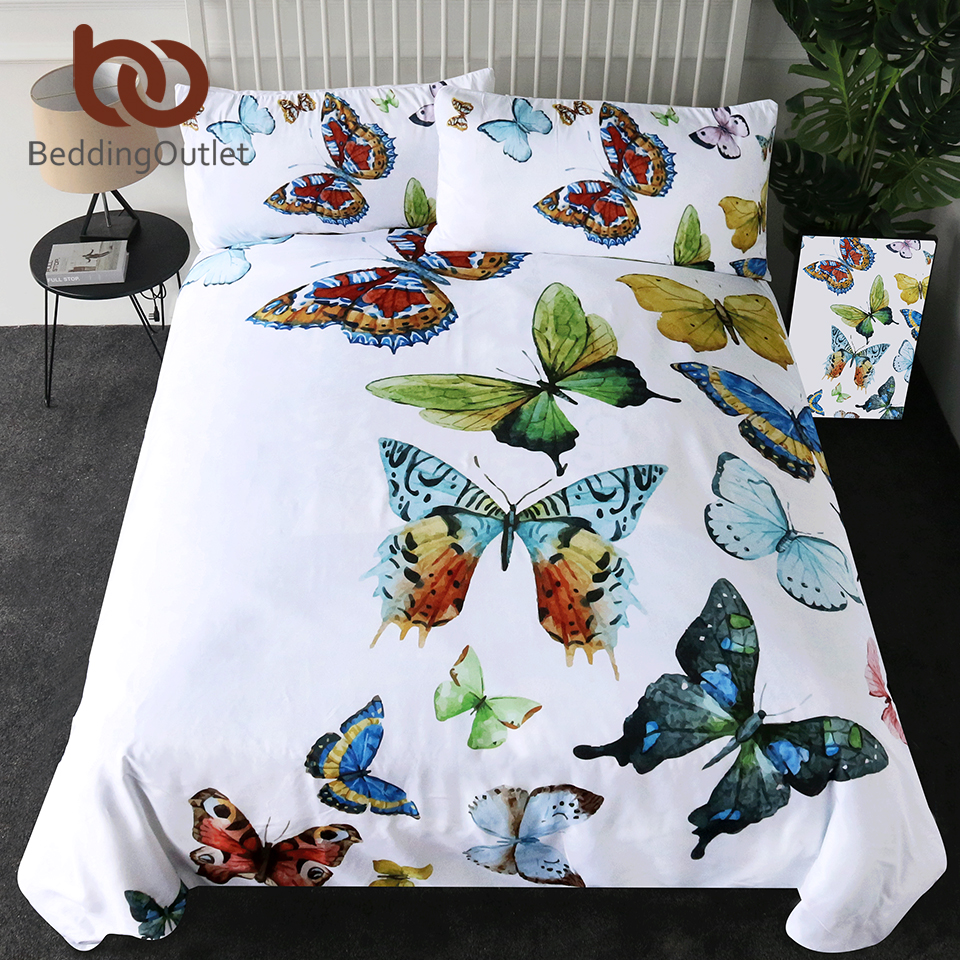постельное белье с бабочками - BeddingOutlet Flying Butterflies Duvet Cover Set Butterfly Collection Bedding Set Queen Size Colorful Soft Bed Cover 3 Pieces