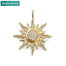 Trendy Gold Color Sun Zirconia Pave Pendants For Women 2018 New Fashion Glam Jewelry Christmas Gift Pendant Fit Necklaces Bijoux