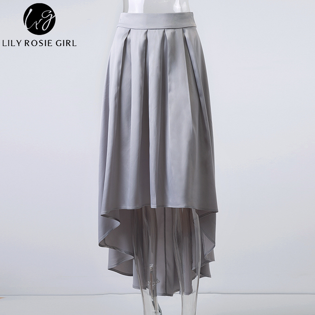 Elegant Ruffles Asymmetrical Maxi Long Satin Skirts Women Autumn Winter Sexy Party Girls Skirts Sashes Pleated