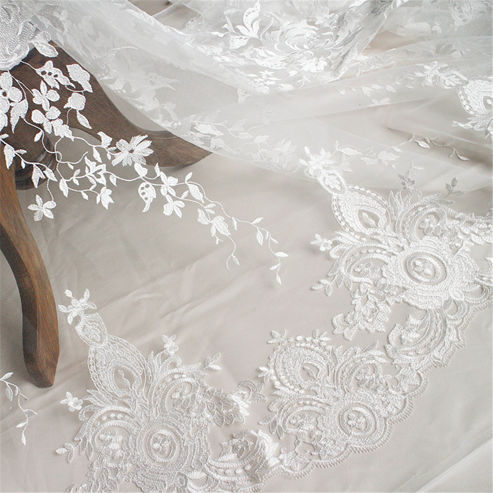 2yard 133cm white embroidered lace fabric for wedding for Wedding dress lace fabric
