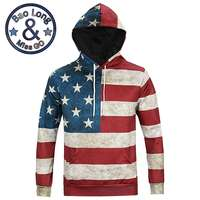 Men S Cool Stylish Autumn Long Sleeve 3D Print American Flag Pattern Hoody Sweatershirts With Hat
