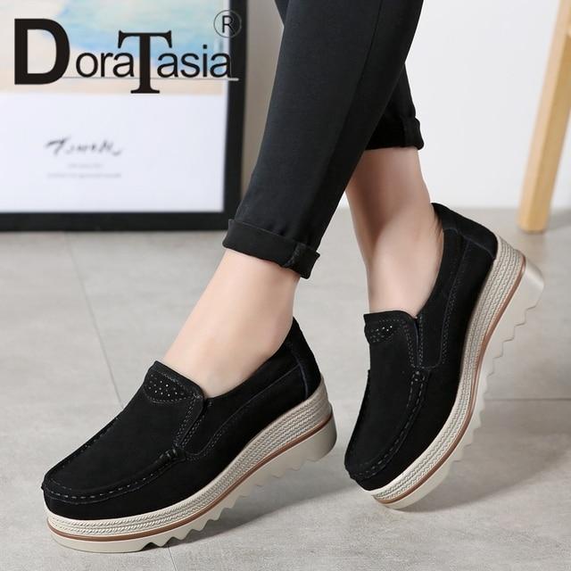 DORATASIA 2019 women flat platform shoes spring autumn Cow Suede big size 35-42 slip-on loafers ladies casual flats shoes woman