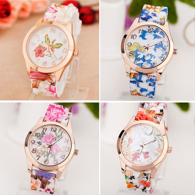 New style Women Girl Watch Silicone Printed Flower Causal Quartz WristWatches Wh