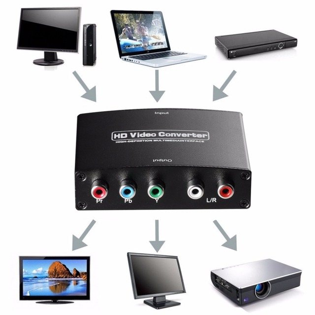 Black 2 Channel LPCM 50/60HZ 1.65Gbps/165MHz HDMI to RGB Component (YPbPr) Video +R/L Audio Adapter Converter HD TV