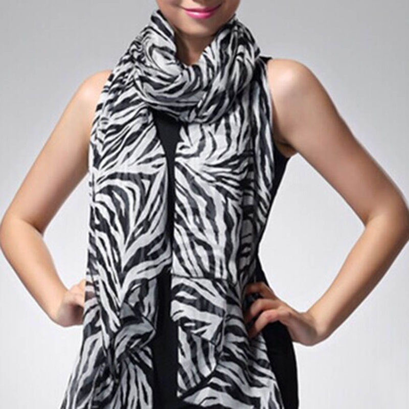 1 Pcs Fashion Modern Trendy Long Sexy Zebra Printed Chiffon Wrap Scarf Women Girls Shawl Soft Smooth Elegant