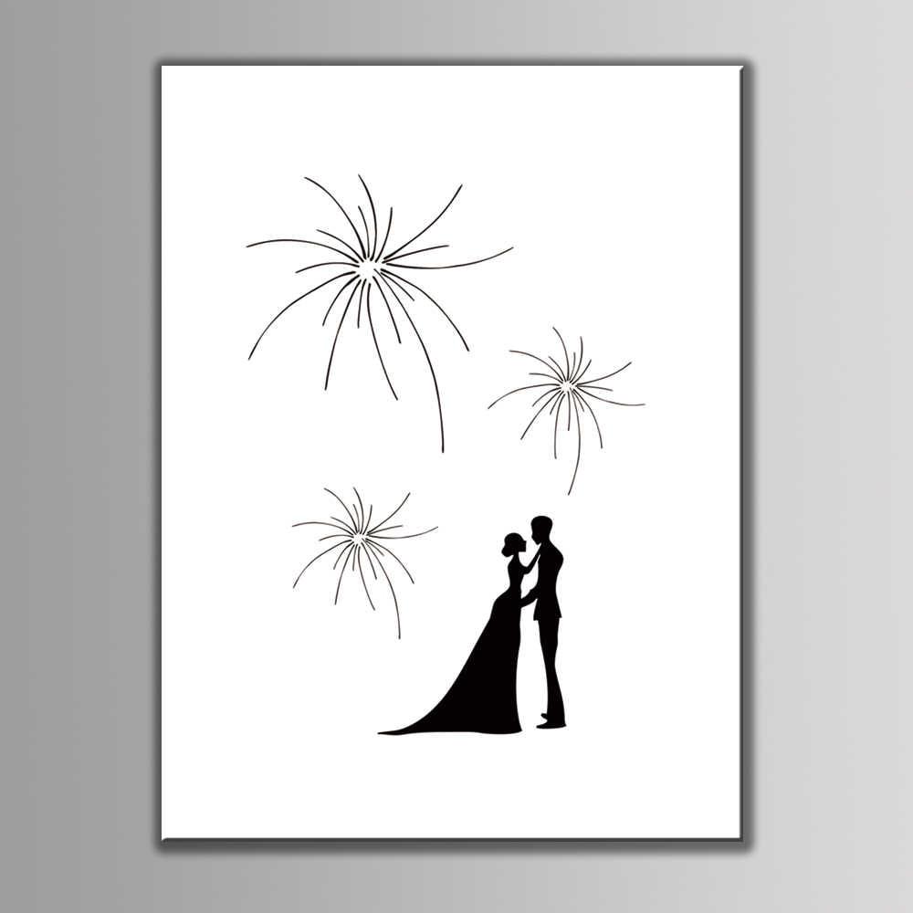 1 set Creative Wedding Decoration Personalized Wedding Guest Book Beautiful Fireworks Sweet Lovers Wedding Fingerprint Painting