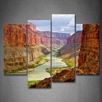4 Panels Unframed Wall Art Pictures River Canyon Canvas Print Modern Landscape Posters No Frames For Living Room Decor