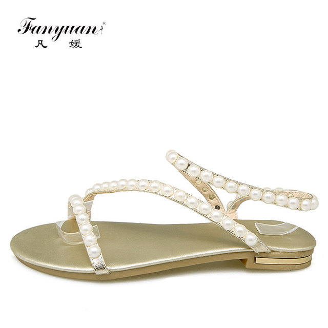 cf8887cfb Fanyuan Italian Fashion Women Shoes Summer Sandals Pearl Ladies Sandals  Cross-tied Flats Genuine Leather Girl s Party Wear Shoes