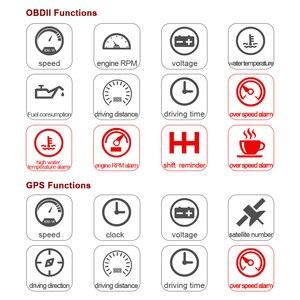 """Image 2 - 5.8 """"voiture style S7 HUD GPS compteur de vitesse OBD2 voiture tête haute affichage véhicule excès de vitesse avertissement consommation de carburant température de leau tr/min"""