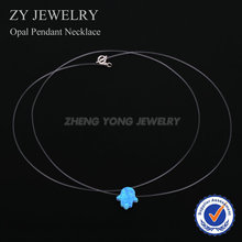 Wholesale Synthetic OP06 Light Blue Hamsa Opal Necklace Transparent Nylon Chain Necklace