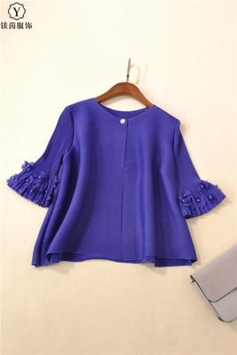 Mode Manteau Livraison Green Fleur Manches Gratuite Un Corne Perle Stock Votre En Grain blue Miyake Bleu Gary Fois De pea D'ongle Bouton 5w6Sqx4wC