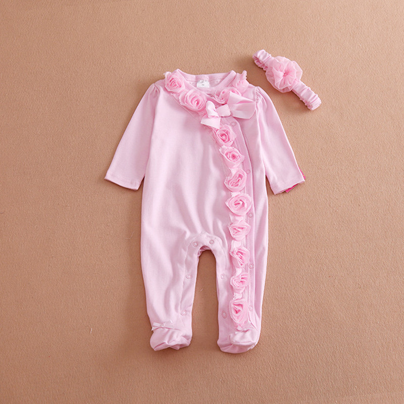 Cute Newborn Baby Girl Clothes New Style Girls Princess Bow/Flowers Romper & Headband 2PC Long Sleeve Romper Clothing Set