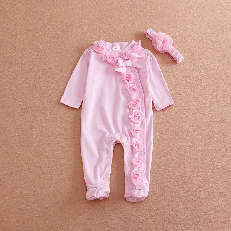 100% QualitäT Neugeborenen Baby Mädchen Kleidung Lang Hülse Prinzessin Bogen/blumen Bodys & Stirnband Mädchen Overall Kleidung Set Seien Sie Im Design Neu