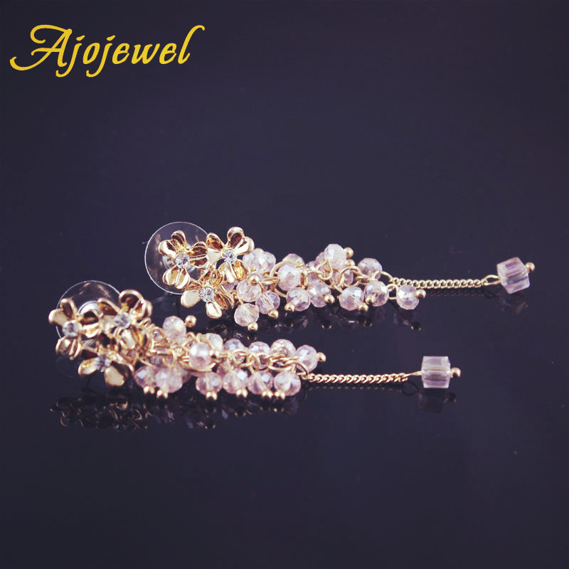 Ajojewel Trendy Smuk Crystal Beaded Tassel Drop Øreringe Flower Long - Mode smykker - Foto 3