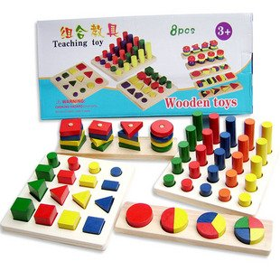 ФОТО Candice guo! New arrival Montessori educational wooden toy early learning teaching toy colors and shapes cognition 8pcs a set