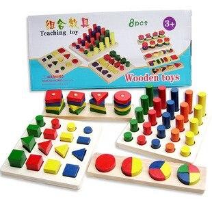 Candice guo! Nouveauté Montessori jouet éducatif en bois apprentissage précoce enseignement jouet couleurs et formes cognition 8 pièces un ensemble