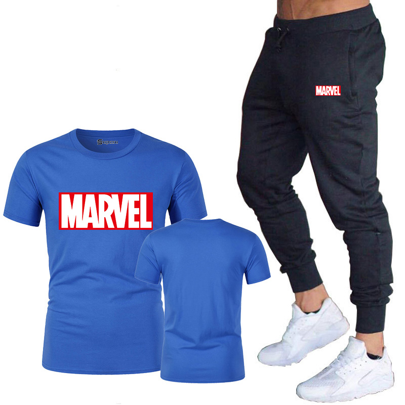 HTB1y3ctJ9zqK1RjSZFLq6An2XXaJ New summer hot brand sale men's MARVEL suit T shirt + pants two piece casual sportswear printing shirts gym fitness pants 2019