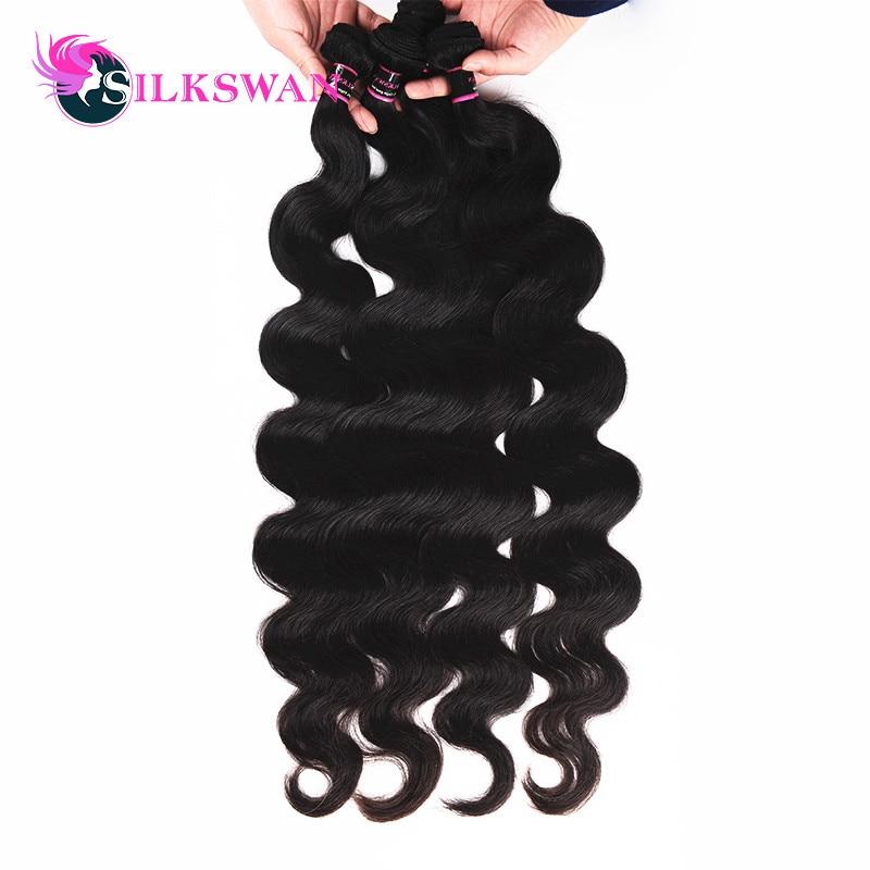 Silkswan Brazilian Hair Extension Body Wave 100% Remy Human Hair Wave Bundles 8 30Inch 32 34 36 40Inch Natural Color 3/4Bundles