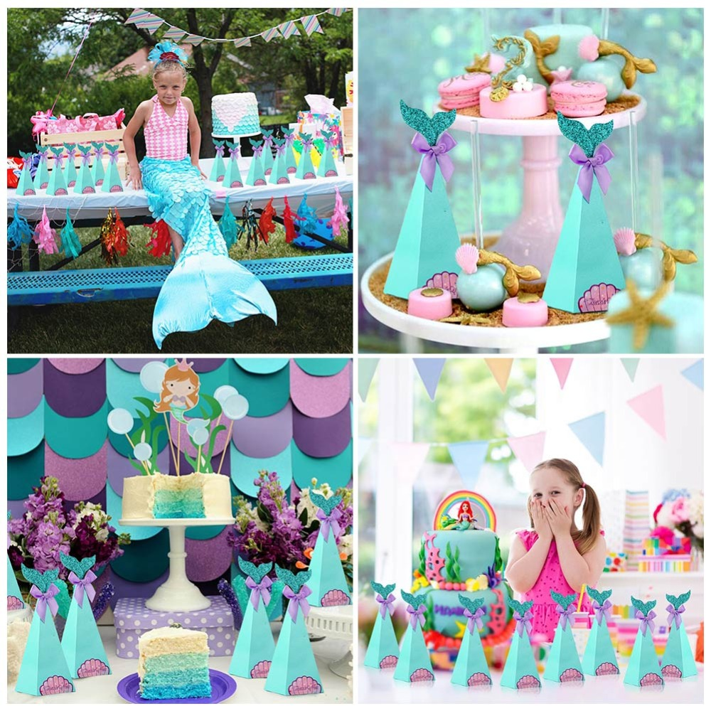 Ourwarm Mermaid Wall Decoration Little Mermaid Party Supplies Boy Girl Birthday Party Gifts Diy Game Mermaid Banner Home Decor