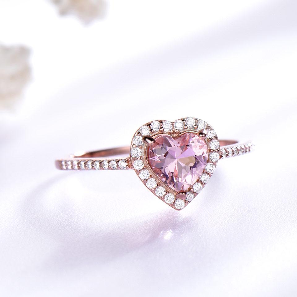 UMCHO Simulate Pink Morganite Real Pure 925 ստերլինգ - Նուրբ զարդեր - Լուսանկար 2