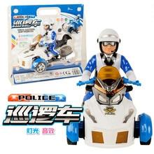 QICSYXJ Belysning Musikalisk Toy Supply Barn Elektrisk Leksak Universell Hjul Polis Motorcykel Patrol Bil Modell