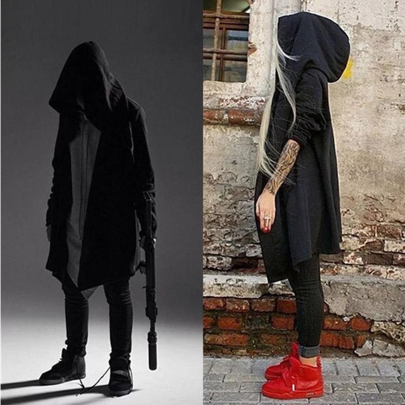 ZSIIBO Men's Hooded Sweatshirt Black Dress Hip Hop Cloak Hoodie Fashion Jacket Long Sleeve Cloak Men's Assassin Jacket WGWY17